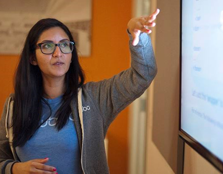 Allisha Ali, Developer at Hubba, teaches coding for a pilot program run by Nellie's Shelter. It has partnered with Ladies Learning Code and Hubba to give marginalized women a foot in the tech world by going beyond basic computer skills to offer coding. - Justin Greaves/Metroland
